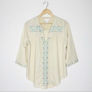 MM Couture Miss Me Embroidered Blouse Size Medium